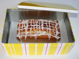 Glazed Lemon Loaf Cake In Tin